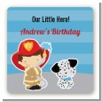 Future Firefighter - Square Personalized Birthday Party Sticker Labels thumbnail