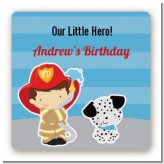 Future Firefighter - Square Personalized Birthday Party Sticker Labels
