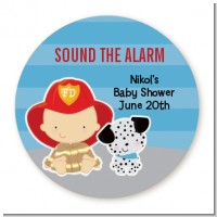 Future Firefighter - Round Personalized Baby Shower Sticker Labels