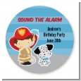 Future Firefighter - Round Personalized Birthday Party Sticker Labels thumbnail