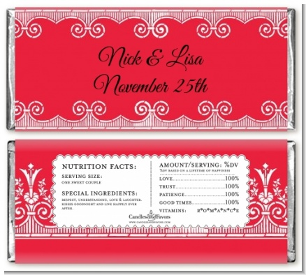 Love is Blooming Red - Personalized Bridal Shower Candy Bar Wrappers