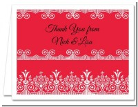 Love is Blooming Red - Bridal Shower Thank You Cards
