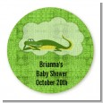 Gator - Round Personalized Baby Shower Sticker Labels thumbnail