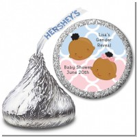 Gender Reveal African American - Hershey Kiss Baby Shower Sticker Labels