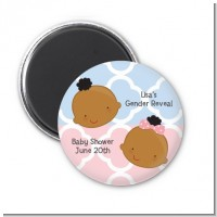 Gender Reveal African American - Personalized Baby Shower Magnet Favors