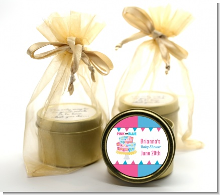 Gender Reveal Cake - Baby Shower Gold Tin Candle Favors