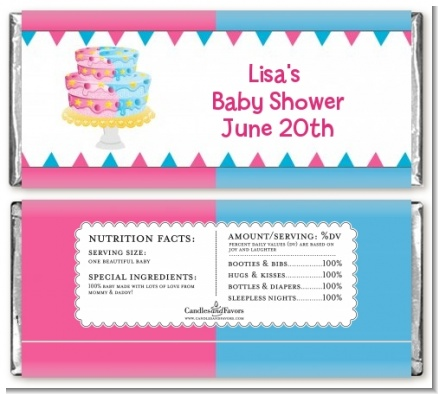 Gender Reveal Cake - Personalized Baby Shower Candy Bar Wrappers