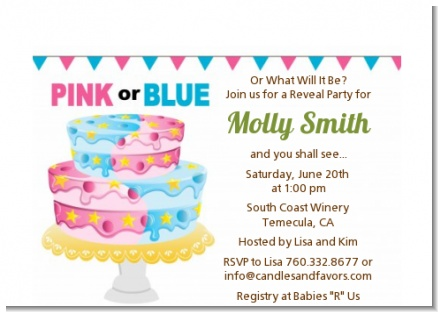 Gender Reveal Cake - Baby Shower Petite Invitations