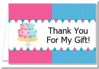 Gender Reveal Cake - Baby Shower Thank You Cards