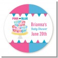Gender Reveal Cake - Round Personalized Baby Shower Sticker Labels thumbnail