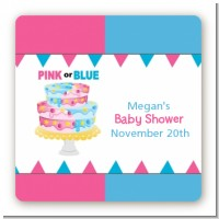 Gender Reveal Cake - Square Personalized Baby Shower Sticker Labels