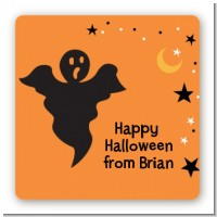 Ghost - Square Personalized Halloween Sticker Labels