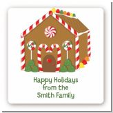 Gingerbread House - Square Personalized Christmas Sticker Labels