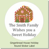 Gingerbread House - Round Personalized Christmas Sticker Labels