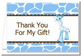 Giraffe Blue - Birthday Party Thank You Cards