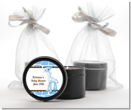 Giraffe Blue - Birthday Party Black Candle Tin Favors