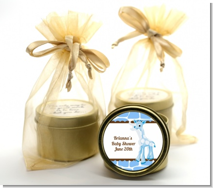 Giraffe Blue - Baby Shower Gold Tin Candle Favors