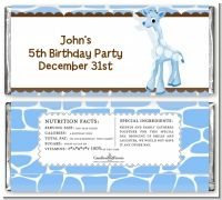 Giraffe Blue - Personalized Birthday Party Candy Bar Wrappers