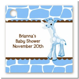 Giraffe Blue - Personalized Baby Shower Card Stock Favor Tags