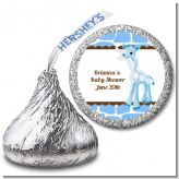 Giraffe Blue - Hershey Kiss Birthday Party Sticker Labels