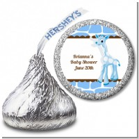 Giraffe Blue - Hershey Kiss Baby Shower Sticker Labels