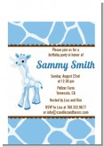 Giraffe Blue - Baby Shower Petite Invitations