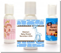Giraffe Blue - Personalized Baby Shower Lotion Favors