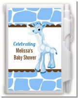 Giraffe Blue - Baby Shower Personalized Notebook Favor