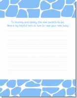 Giraffe Blue - Baby Shower Notes of Advice