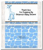 Giraffe Blue - Personalized Popcorn Wrapper Baby Shower Favors
