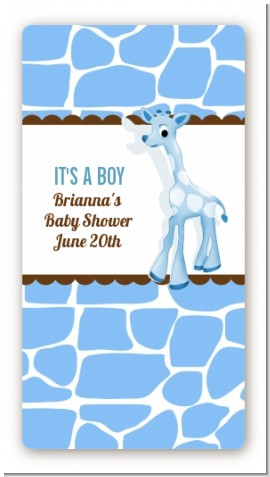 Giraffe Blue - Custom Rectangle Baby Shower Sticker/Labels
