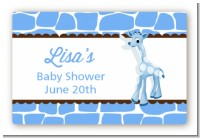 Giraffe Blue - Baby Shower Landscape Sticker/Labels
