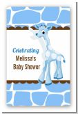 Giraffe Blue - Custom Large Rectangle Baby Shower Sticker/Labels