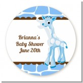 Giraffe Blue - Round Personalized Birthday Party Sticker Labels