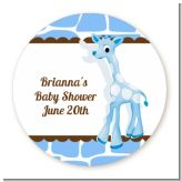 Giraffe Blue - Round Personalized Baby Shower Sticker Labels
