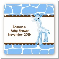 Giraffe Blue - Square Personalized Baby Shower Sticker Labels