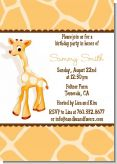 Giraffe Brown - Birthday Party Invitations