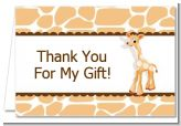 Giraffe Brown - Birthday Party Thank You Cards