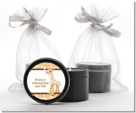 Giraffe Brown - Birthday Party Black Candle Tin Favors