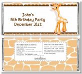 Giraffe Brown - Personalized Birthday Party Candy Bar Wrappers