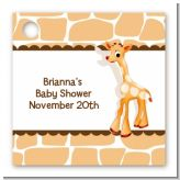 Giraffe Brown - Personalized Baby Shower Card Stock Favor Tags
