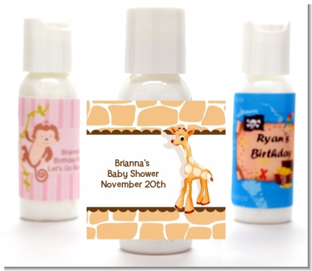 Giraffe Brown - Personalized Baby Shower Lotion Favors