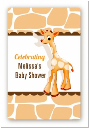 Giraffe Brown - Custom Large Rectangle Baby Shower Sticker/Labels