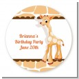 Giraffe Brown - Round Personalized Birthday Party Sticker Labels thumbnail