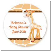 Giraffe Brown - Round Personalized Baby Shower Sticker Labels