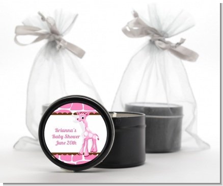 Giraffe Pink - Baby Shower Black Candle Tin Favors
