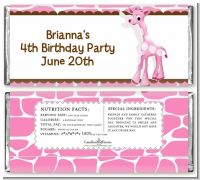 Giraffe Pink - Personalized Birthday Party Candy Bar Wrappers