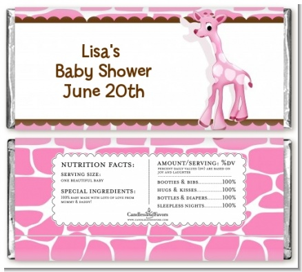 Giraffe Pink Baby Shower Candy Bar Wrappers Candles Amp Favors