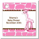 Giraffe Pink - Personalized Baby Shower Card Stock Favor Tags