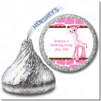 Giraffe Pink - Hershey Kiss Baby Shower Sticker Labels